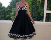 Rockabilly Dress Checkered 1950s Halterneck in a Full Skirted 1950's Pin Up Style  with Petticoat , Bridesmaid- custom made to fit