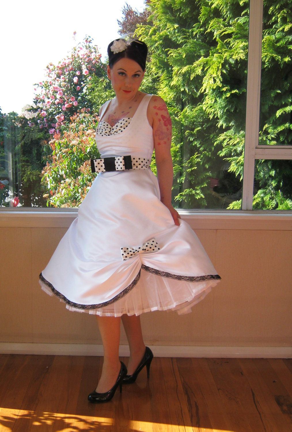 Pin Up Wedding Dress In A 1950s Rockabilly Style With Polka