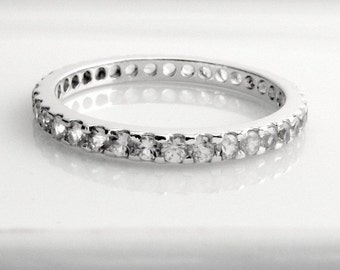 Promotion - Eternity Diamond Stackable Band - 14K White Gold -  Wedding Engagement Ring -  Customized Options Available