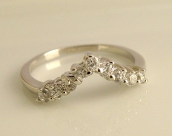 Tiara Diamond Stackable Ring - 14K White Gold -  Top quality Diamond - Wedding Engagement Ring -  Customized Options Available