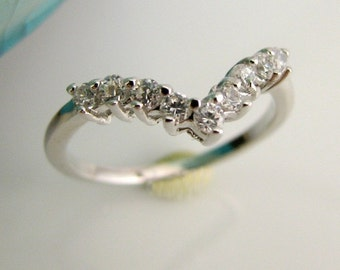Tiara Diamond Band - White Sapphire & Silver - Wedding Engagement Stackable Ring -  Customized Options Available