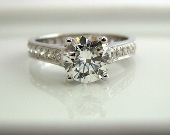 Diamond Engagement Wedding Ring - 1 Carat Diamond Center Stone - 14K White Gold - Customized or Personalized or Engraved Ring Available