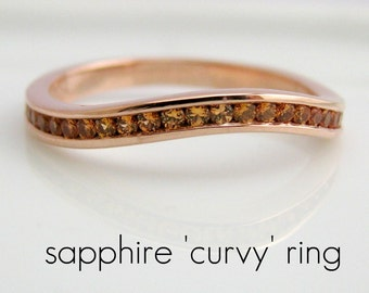 Half Eternity Curvy Yellow Sapphire - Engagement Stack Ring - 18K Rose Gold Plated over 925 Sterling Silver - Customized Options Available