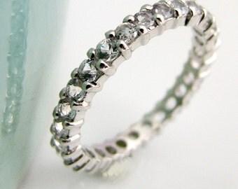 White sapphire eternity ring, single ring 2mm, white sapphires on 14K solid white gold, eternity engagement stack ring D320W14K