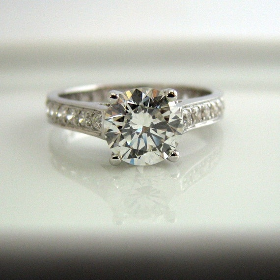 Diamond engagement wedding ring 1 carat diamond center stone 14k