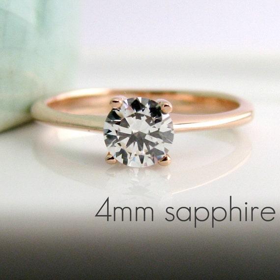 White sapphire devotion ring, rose gold engagement ring,  white sapphire solitaire ring, rose gold white sapphire ring, promise ring, D340R