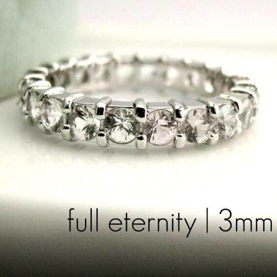3mm White Sapphire Eternity Engagement Stack Ring - White Gold Rhodium Plated over 925 Sterling Silver - (D330W)