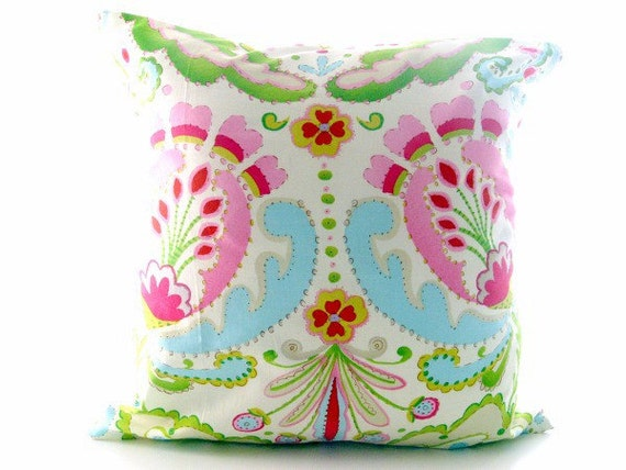 Blue And Pink Decorative Pillows : Pink And Aqua Blue Pillow. Kumari Garden Throw Pillow. Pink