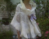 Bridal wrap / silk felted wedding gown shawl/ bridal bolero shrug