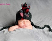 Mohawk Hat Black, Red, and Grey Perfect for photo props Newborn thru 6 months size available