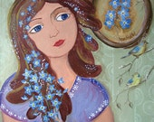 """Forget-me-not Girl. Original acrylic painting by Lena Fishtel. 12""""x16"""""""