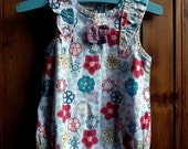 Upcycled baby romper suit floral flowers white crochet butterfly .
