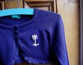 upcycled girls 2 / 3 years cardigan shrug bolero purple embroidery flower recycled pink white