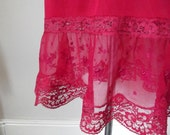 womans clothing vintage clothing slip dress / lingerie / vintage /  1950s /  womans /  red / pink /  lace / floral / small