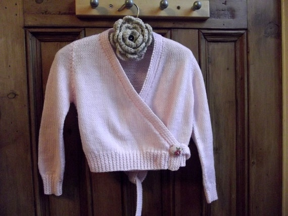 Girls Knitted Ballet Wrap Sweater Pink Age 3 4 Years Fabric