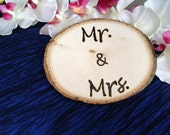 Mr. & Mrs. wood slab sign