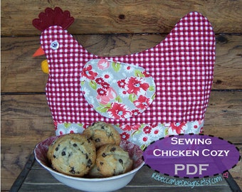 Chicken Tea Cozy PDF Sewing PATTERN - muffin cozy, cookie cozy,  egg cozy... it's all cozy