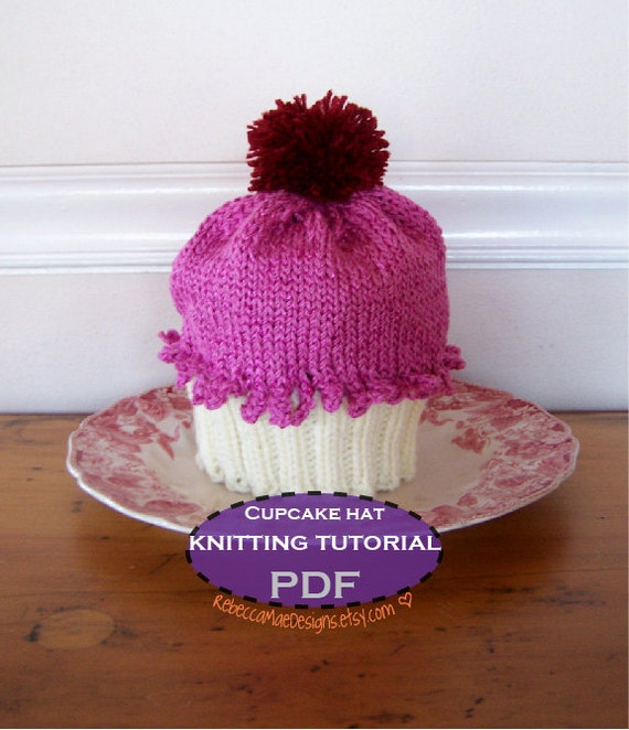 Knitted Head Band Patterns : Items similar to Cupcake Hat PDF Tutorial - diy knitting pattern instructions...
