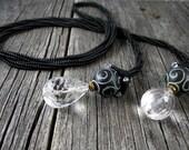 Bead Weaving - Black Herringbone Rope/Lariat with Carved Jade and Crystal Drops