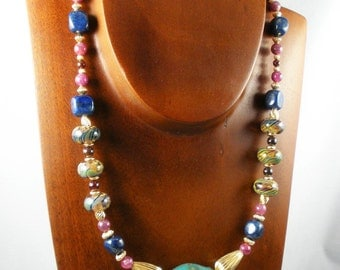 Lapis & Ruby Necklace with Lampwork Beads