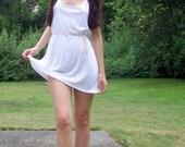 lovely ivory organic bamboo deep scoopneck mini dress