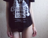 LAST ONE - against animal testing off-shoulder beautiful shirt in black