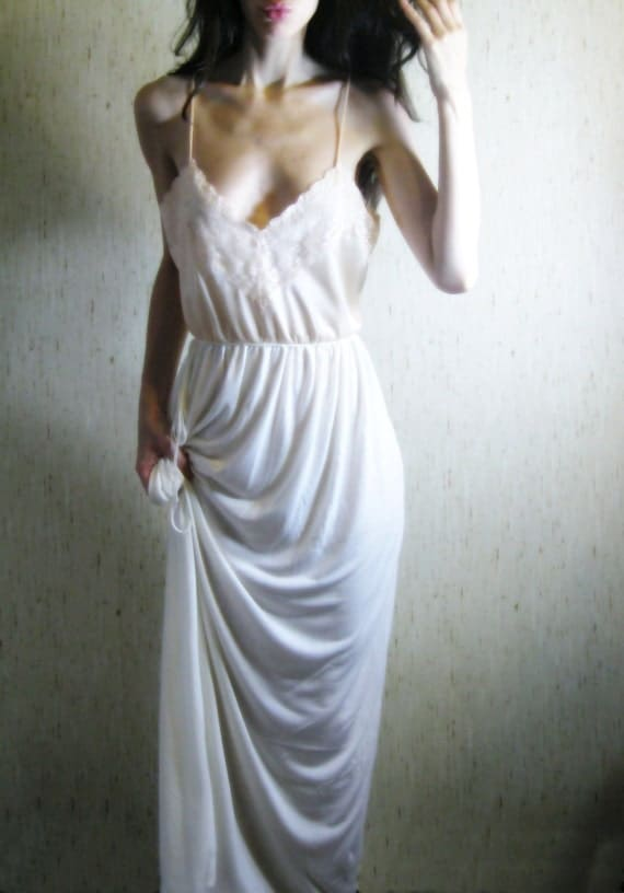 in bloom - organic bamboo ivory maxi sundress with 1950s vintage floral lace