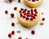 Heart shape cakes with wild strawberry
