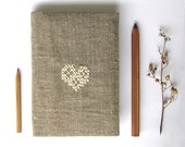 Rustic heart cozy notebook or journal cover fabric embroidery gift under 25