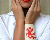 Bracelet cuff textile white red embroidered ready for shipping fairytale peacock OOAK gift
