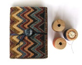 Zigzag chevron mini tiny notebook indian fabric covered stocking stuffers Christmas gift under 25