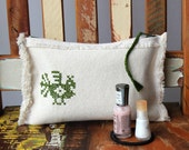 Zippered pouch embroidered, white green cozy. Peacock. OOAK rustic gift under 50