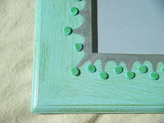 Mist Blue-Green Framed Mirror