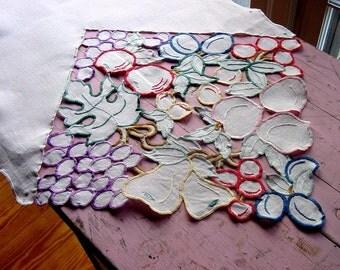 1930s Fruit Embroidered Linen Table Runner