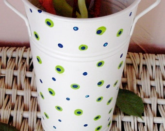 Hand Painted Traditional French Market Flower Bucket
