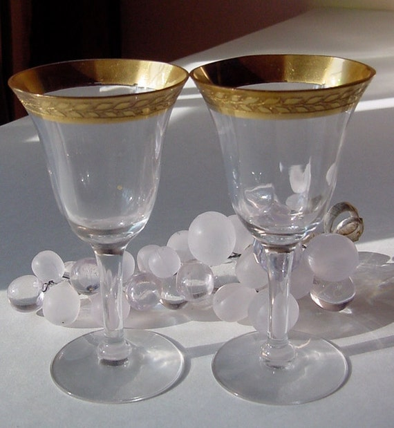 "2 Tiffin's ""Wedding Band"" Gold-Encrusted Crystal Cordials 1915"