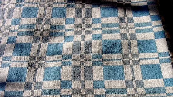 Vintage Woven Cotton Geometric Patterned Tablecloth