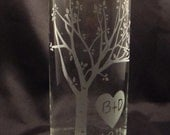 Wedding Unity Candle Vase - Rustic Blooming  Sweetheart Tree Personalized Etched Glass Vase w/ Floating Candle