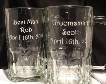 Set of 7 Personalized Beer Mugs For Your Wedding Party - Wedding Discount