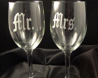 Custom Etched Wine Glasses - Bride and Groom Wine Glasses - Perfect for Wedding or Anniversary