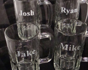 Custom Personalized Beer Mugs - Custom Bar Glasses - Man Cave - Fraternity Gift - Personalized Glassware - Etched Beer Mugs - Men's Gift