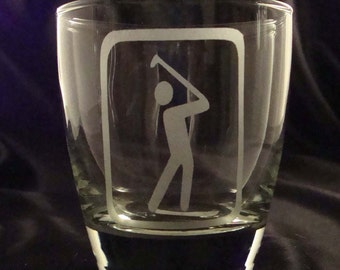 Etched Golfer Barware - Set of 4 Hi-Ball Glasses