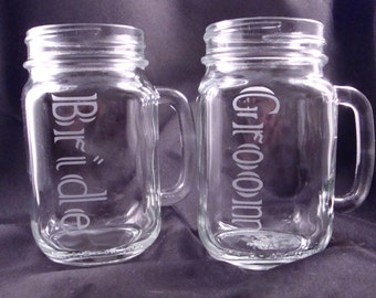 Personalized Etched Mason Jar Mugs – Bride and Groom Gift – Wedding Toasting Glasses - Mason Jars – Mason Mug