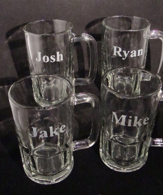 ... Fraternity Gift - Personalized Glassware - Etched Beer Mugs - Mens