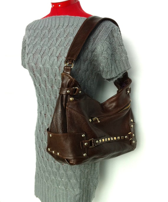 SALE - Brown Hobo Purse with Gold Hardware