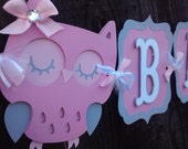 Owl Baby Shower Banner, pink and gray