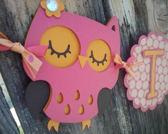 It's A Girl Owl Banner in pink and orange
