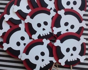 Pirate theme, Skull Cupcake Toppers in red, black and white or Pick Your Colors