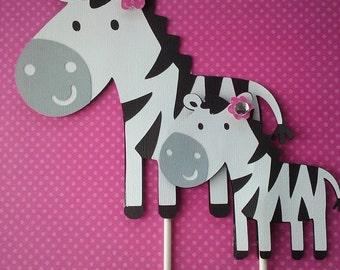 Mommy And Baby Zebra Cake Topper set. Zebra Cake Topper. Zebra Birthday Decoration. Zebra Baby Shower Decoration. Cake Topper.