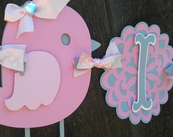 "Pink and Gray Bird Baby Shower Banner.  ""It's Twins"" OR ""It's A Girl"" banner"